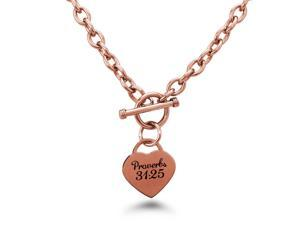 Rose Gold Plated Stainless Proverbs 31:25 Engraved Heart Tag Charm Necklace