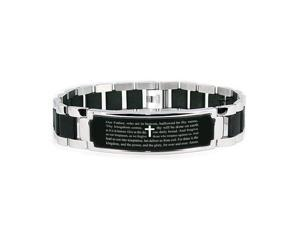 Stainless Steel Our Father The Lord's Prayer Engraved Black ID Bracelet