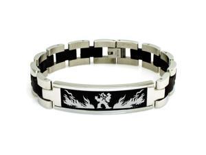 Stainless Steel 3rd Gen Torchic Combusken Blaziken Pokémon Engraved Black ID Bracelet