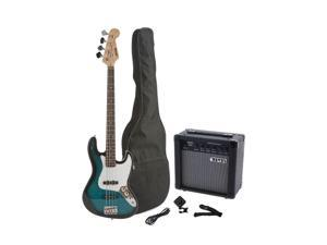 Fever 4-String Electric Jazz Bass Style with 20-Watts Amplifier, Gig Bag, Clip on Tuner, Cable and Strap, Color Blue