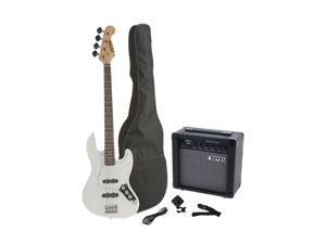 Fever 4-String Electric Jazz Bass Style with 20-Watts Amplifier, Gig Bag, Clip on Tuner, Cable and Strap, Color White