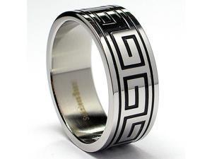 8MM Greek Key Design Stainless Steel Ring