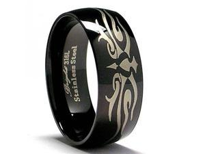 Black Stainless Steel Ring with Laser Etched  Design