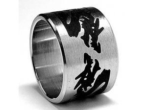 15MM Stainless Steel Ring with Black Resin Dragon Design