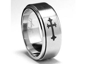 Stainless Steel Cross Spinner Ring with Laser Etched Design