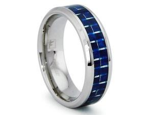 8MM Stainless Steel Ring with Blue Carbon Fiber Inlay