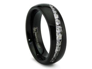 7MM Black Stainless Steel Ring With Graduated Cubic Zirconia