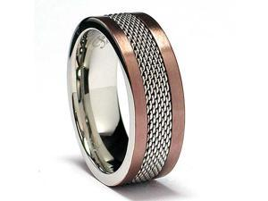 8MM Chocolate Stainless Steel Ring with Mesh Inlay
