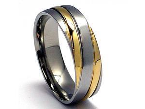6MM 14K Gold Plated Titanium Ring Wedding Band