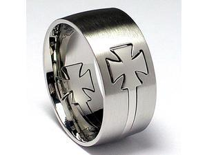 Iron Cross Cut out Stainless Steel Ring
