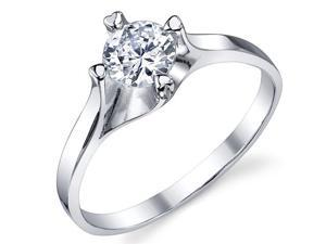0.50 Carat Round Brilliant Cubic Zirconia CZ Sterling Silver 925 Wedding Engagement Ring with Twisted Prongs Size 6