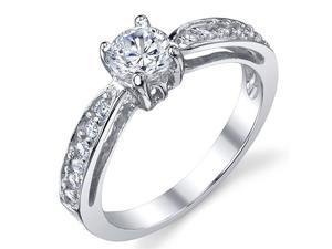 Sterling Silver 925 Wedding Engagement Ring with .50 Carat Round Cubic Zirconia Size 6