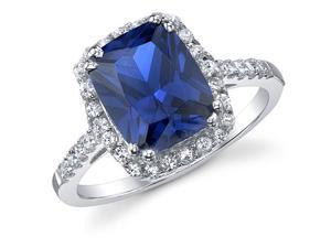 3 Carat Radiant Blue Sapphire Cubic Zirconia Sterling Silver Ring Engagement Wedding Band Ring Size 8