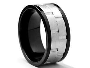 10MM Black Stainless Steel Brick Style Spinner Ring Size 12