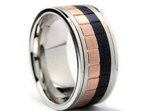 10MM Tri-Color Stainless Steel Brick Style Spinner Ring Size 9