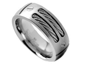 8MM Men's Titanium Ring Wedding Band with Stainless Steel Cables and Screw Design Size 10