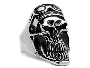 Stainless Steel Men's Casted Smiling Biker Skull Ring Size 9