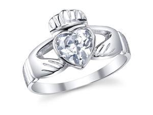 Sterling Silver 925 Irish Claddagh Friendship & Love Clear Heart CZ Ring Size 10