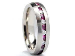 5.5MM Matte Finish Eternity Titanium Ring Wedding Band with Pink and White CZ Size 6