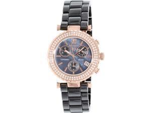 Precimax PX13377 Women's Lily Elite Crystal Black Ceramic Quartz Watch
