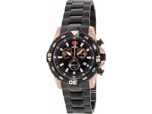 Swiss Precimax SP13108 Men's Falcon Pro Black Stainless-Steel Swiss Chronograph Watch with Black Dial