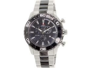 Swiss Precimax SP12056 Men's Valor Elite Silver Stainless-Steel Chronograph Watch with Black Dial