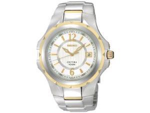 Seiko Men's SGEE68  Silver Stainless-Steel Quartz Watch with White Dial