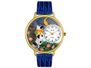 Cats Night Out Royal Blue Leather And Goldtone Watch #G0120009