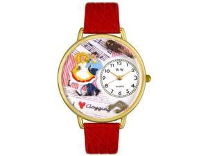 Clogging Red Leather And Goldtone Watch #G0510010
