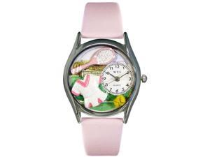 Tennis Female Pink Leather And Silvertone Watch #S0810015