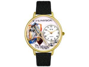 Physical Therapist Black Skin Leather And Goldtone Watch #G0620022