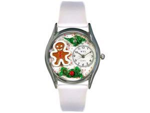 Christmas Gingerbread White Leather And Silvertone Watch #S1220006