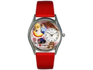 Clogging Red Leather And Silvertone Watch #S0510016