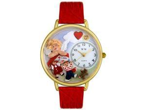 Day Care Teacher Red Leather And Goldtone Watch #G0630015