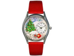 Christmas Tree Red Leather And Silvertone Watch #S1220001