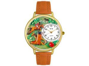 Horse Competition Tan Leather And Goldtone Watch #G0810020