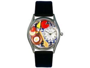 Gourmet Black Leather And Silvertone Watch #S0310001