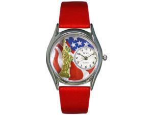 July 4th Patriotic Red Leather And Silvertone Watch #S1228001