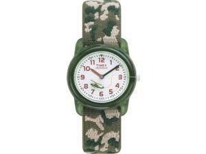 Timex Children's T78141 Green Cloth Quartz Watch with White Dial
