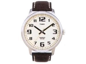 Timex Men's T28201 Brown Leather Quartz Watch with White Dial