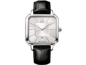 Calvin Klein Men's K1U21120 Black Leather Swiss Quartz Watch with Silver Dial