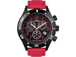 Timex Men's STYLE T2N087 Red Nylon Quartz Watch with Black Dial