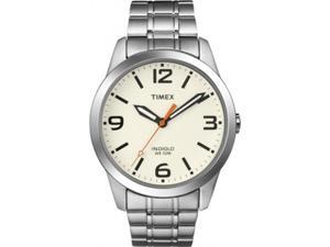 Timex Men's Weekender T2N635 Silver Stainless-Steel Quartz Watch with White Dial