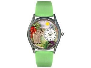 Elephant Green Leather And Silvertone Watch #S0150013