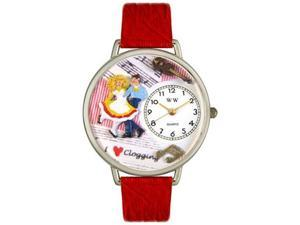 Clogging Red Leather And Silvertone Watch #U0510010