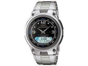 Casio Men's AW82D-1AV Silver Stainless-Steel Quartz Watch with Black Dial