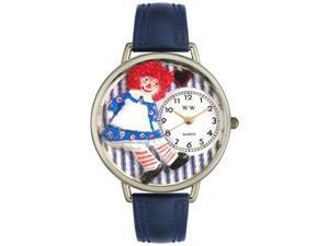 Raggedy Ann Navy Blue Leather And Silvertone Watch #U0220003