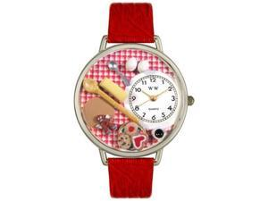 Baking Red Leather And Silvertone Watch #U0310005