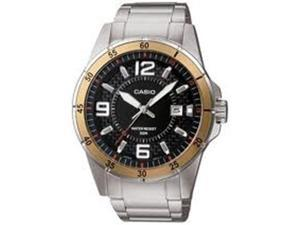 Casio Men's MTP1291D-1A3V Silver Stainless-Steel Quartz Watch with Black Dial