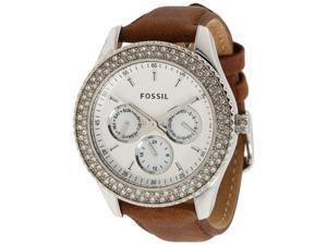 Fossil Women's ES2996 Beige Leather Quartz Watch with White Dial